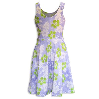 The invisible manikin back side view of Baby Blue by Cool Blue Maui's Haiku Hibiscus Holoholo Dress which has a lavender background with white and lime green hibiscus flowers.