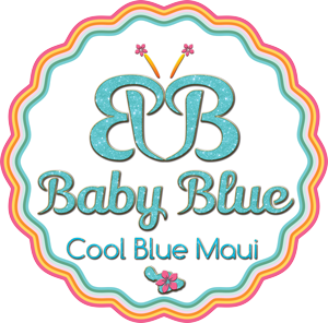 Baby Blue by Cool Blue Maui circle logo with a butterfly symbol and red, yellow, green, blue, pink logo for island inspired girls' dresses made on Maui.
