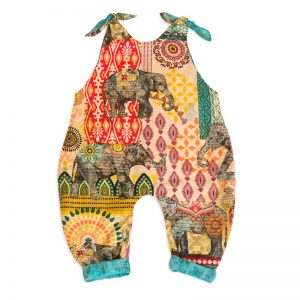 The back view of a Baby Blue by Cool Blue Maui Elephant Walk Romper.