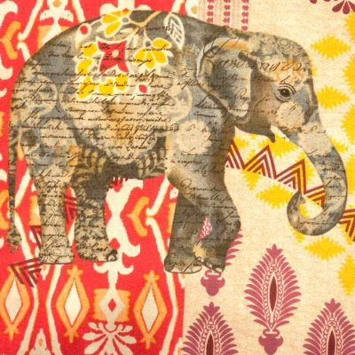 Close up fabric view of Baby Blue by Cool Blue Maui Elephant Walk Romper which has large gray elephants walking among multi color batik motifs.