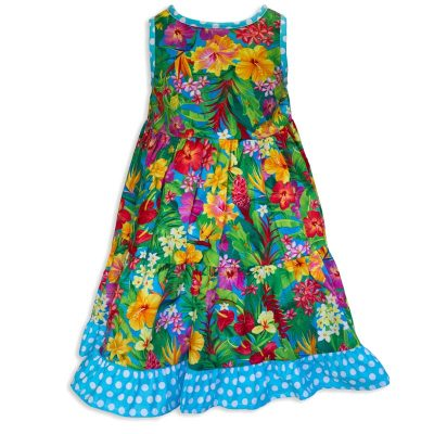 Invisible manikin view of the back side of the Baby Blue Aloha Minnie Twirling Dress by Cool Blue Maui which has bright yellow, red, purple, and orange assorted Hawaiian tropical flowers and a blue with white polkadot hem.