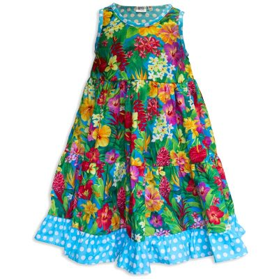 Invisible manikin view of the front side of the Baby Blue Aloha Minnie Twirling Dress by Cool Blue Maui which has bright yellow, red, purple, and orange assorted Hawaiian tropical flowers and a blue with white polkadot hem.