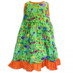 Invisible manikin view of the back side of the Baby Blue Don't Bug Me Twirling Dress by Cool Blue Maui which has bright funny looking cartoon bugs set on a bright lime green background with an orange polkadot hem.