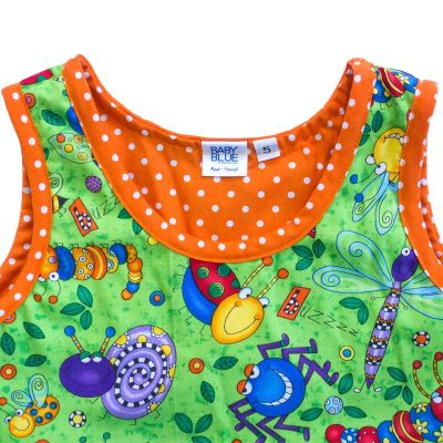 Close up view of the tank-top style top of a Baby Blue by Cool Blue Maui's Don't Bug Me Twirling Dress in a size 5 which has bright funny looking cartoon bugs set on a bright lime green background with an orange polkadot trim.