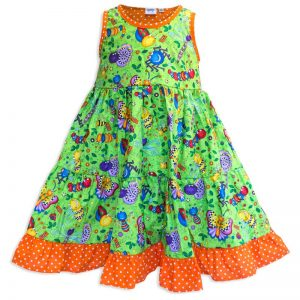 Invisible manikin view of the front side of the Baby Blue Don't Bug Me Twirling Dress by Cool Blue Maui which has bright funny looking cartoon bugs set on a bright lime green background with an orange polkadot hem.