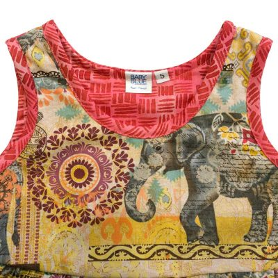 Close up view of the tank-top style top of a Baby Blue by Cool Blue Maui's Elephant Walk Dress in a size 5 which has large gray elephants walking among multi color batik motifs and a brick and red coordinate trim.