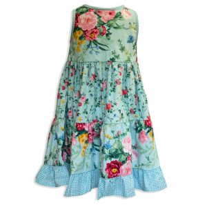 Invisible manikin view of the back side of the Baby Blue English Garden Aqua Twirling Dress by Cool Blue Maui which has an aqua background with large pink and red cabbage rose bouquets mixed with smaller rose print and a aqua gingham trim and ruffle.