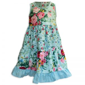 Invisible manikin view of the front side of the Baby Blue English Garden Aqua Twirling Dress by Cool Blue Maui which has an aqua background with large pink and red cabbage rose bouquets mixed with smaller rose print and a aqua gingham trim and ruffle.