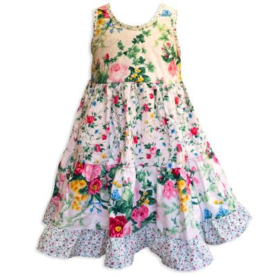 Invisible manikin view of the front side of the Baby Blue English Garden White Twirling Dress by Cool Blue Maui which has a white floral background with small pink roses, green leaves and large red and pink cabbage roses and a pink baby flower hem.