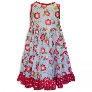 Invisible manikin view of the back side of the Baby Blue Red Vines Twirling Dress by Cool Blue Maui which has a soft grey background with red peony flowers and vines and red with white flowers trim and ruffle.