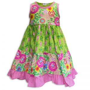 Invisible manikin view of the front side the Baby Blue Seahorse Garden Twirling Dress by Cool Blue Maui which has bright pink seahorses set on a lime green background with orange and yellow flowers and a pink checkered hem.