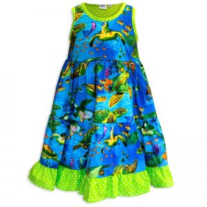 Invisible manikin view of the front side of the Baby Blue Turtle Town Twirling Dress by Cool Blue Maui which has a bright blue ocean background with swimming green sea turtles and a bright green polkadot hem.
