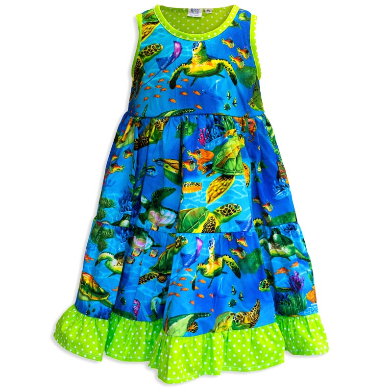 eab27bb3 Invisible manikin view of the front side of the Baby Blue Turtle Town  Twirling Dress by