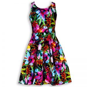 Front view of Hug a Rainbow Holoholo girls sundress featuring bright pink, orange and yellow hibiscus and Hawaiian flowers.