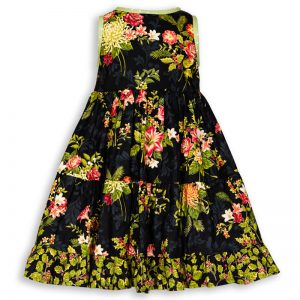Back view of Holiday Bouquet Twirl Dress with the black background with roses, lilies, holiday flowers and green polkadot trim.