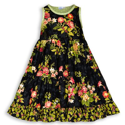 Front view of Holiday Bouquet Twirl Dress with the black background with roses, lilies, holiday flowers and green polkadot trim.
