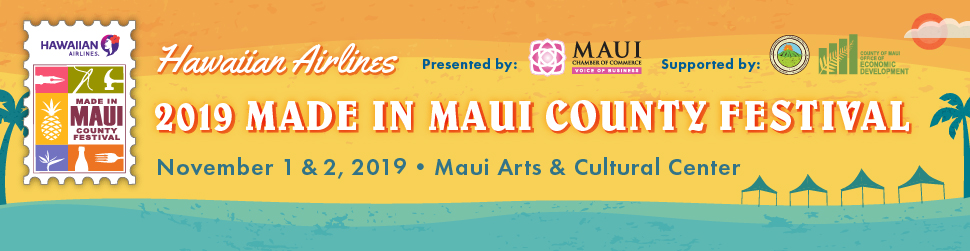 Hawaiian Airlines Made in Maui County Festival orange, yellow and blue branded banner ad for event.