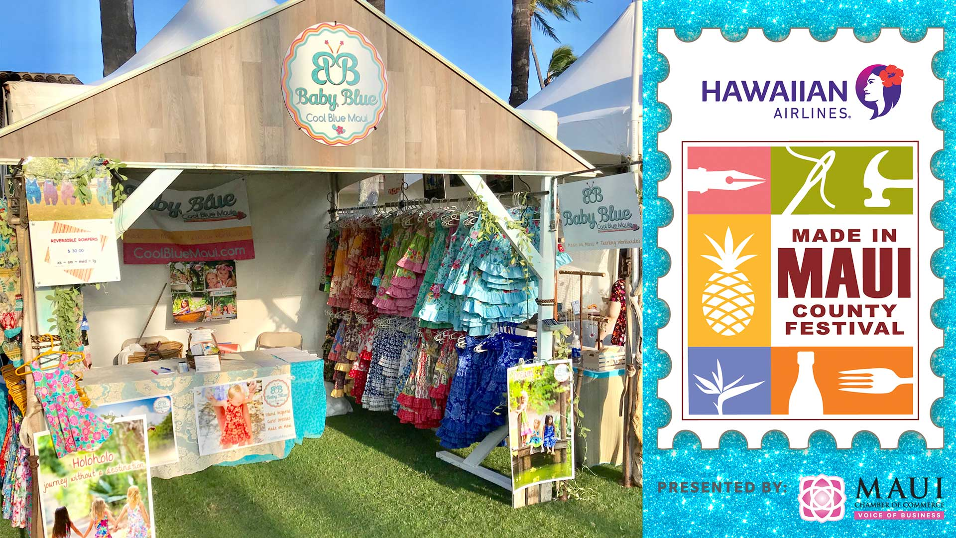 Baby Blue by Cool Blue Maui booth with bright colored girls dresses and rompers at the Made in Maui County Festival.
